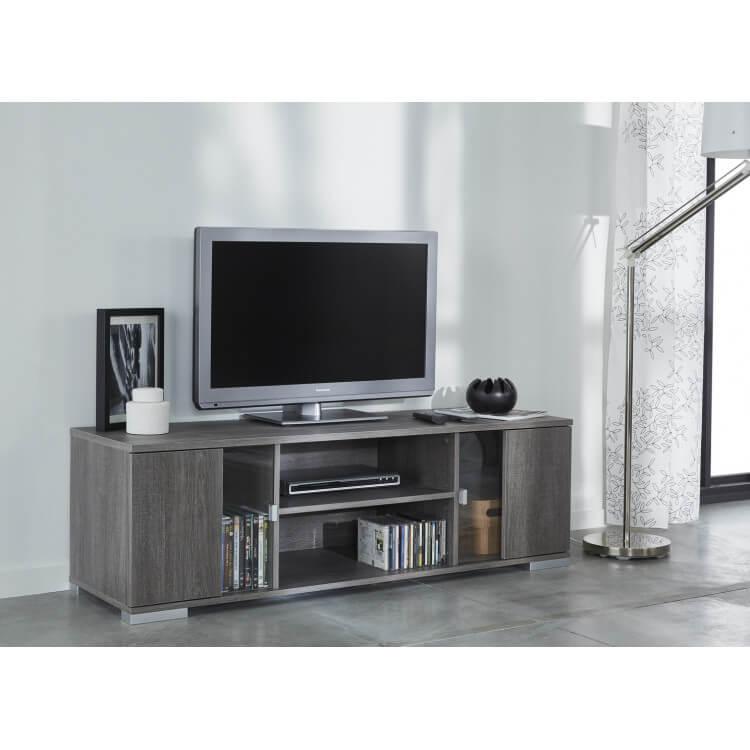 Meuble TV contemporain 139 cm chêne foncé Murano
