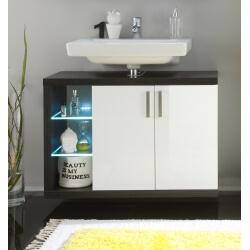 Meuble sous lavabo suspendu de salle de bain design avec éclairage coloris blanc/foncé Solcice