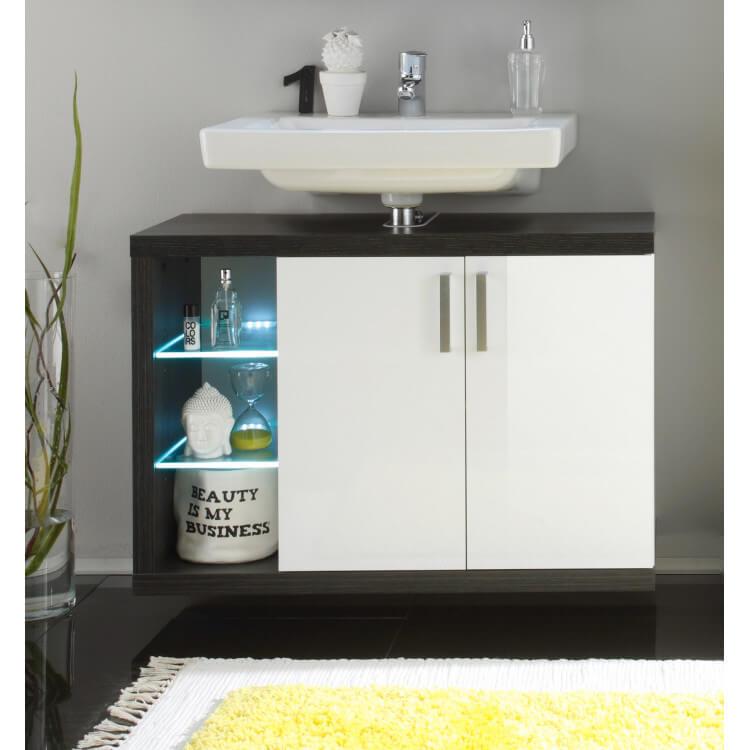 Meuble Sous Lavabo Suspendu De Salle De Bain Design Avec Eclairage Coloris Blanc Fonce Solcice