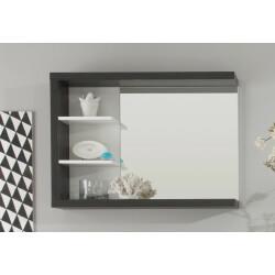 Miroir de salle de bain avec étagère coloris blanc/foncé Solcice