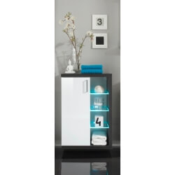 Meuble bas suspendu de salle de bain design avec éclairage coloris blanc/foncé Solcice
