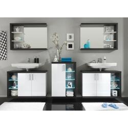 Ensemble de salle de bain design 5 éléments avec éclairage coloris blanc/foncé Solcice