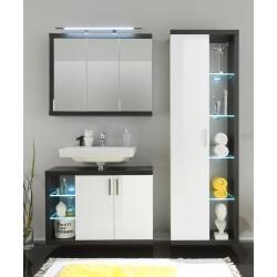 Ensemble de salle de bain design 3 éléments avec éclairage coloris blanc/foncé Solcice