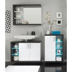 Ensemble de salle de bain design 3 éléments avec éclairage coloris blanc/foncé Solcice II