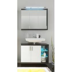 Ensemble de salle de bain design 2 éléments avec éclairage coloris blanc/foncé Solcice
