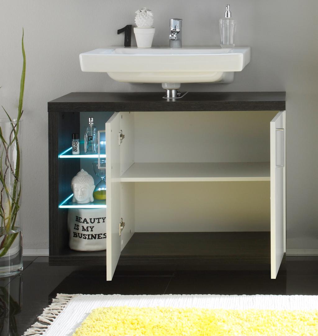 Ensemble de salle de bain design 2 l ments avec clairage coloris blanc fonc solcice matelpro for Eclairage de salle de bain design