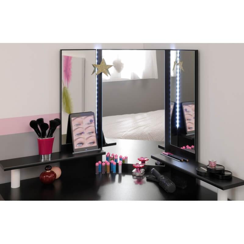 coiffeuse design d 39 angle coloris blanc et noir rivage matelpro. Black Bedroom Furniture Sets. Home Design Ideas