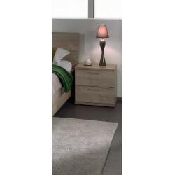 Chevet contemporain 2 tiroirs chêne clair Lorina
