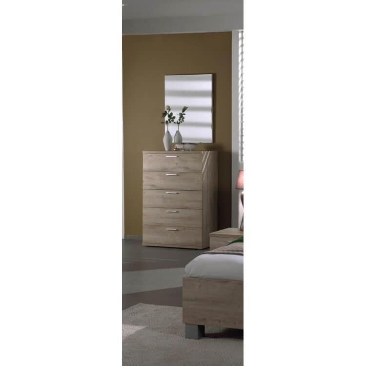 Commode haute contemporaine 5 tiroirs chêne clair Lorina