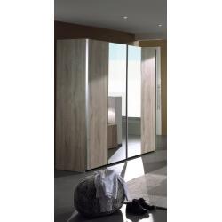 Armoire contemporaine 2 portes coulissantes chêne clair Lorina