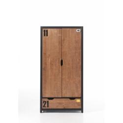 Armoire 2 portes contemporaine en pin massif coloris miel doré/noir Iberis