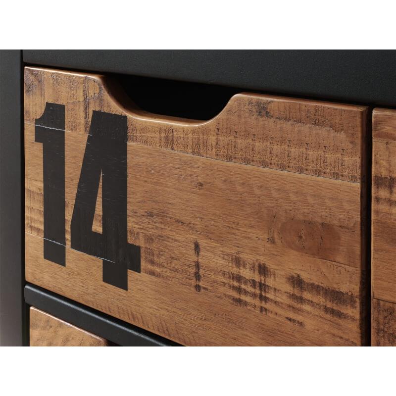 commode contemporaine 3 tiroirs en pin massif coloris miel. Black Bedroom Furniture Sets. Home Design Ideas