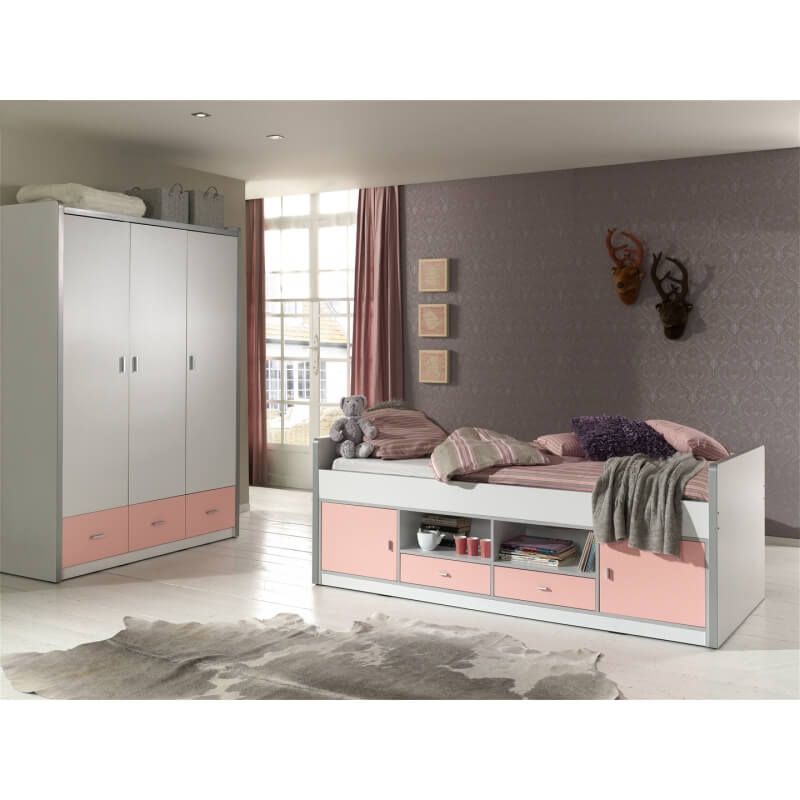 lit sur lev enfant avec rangement blanc rose sunny matelpro. Black Bedroom Furniture Sets. Home Design Ideas