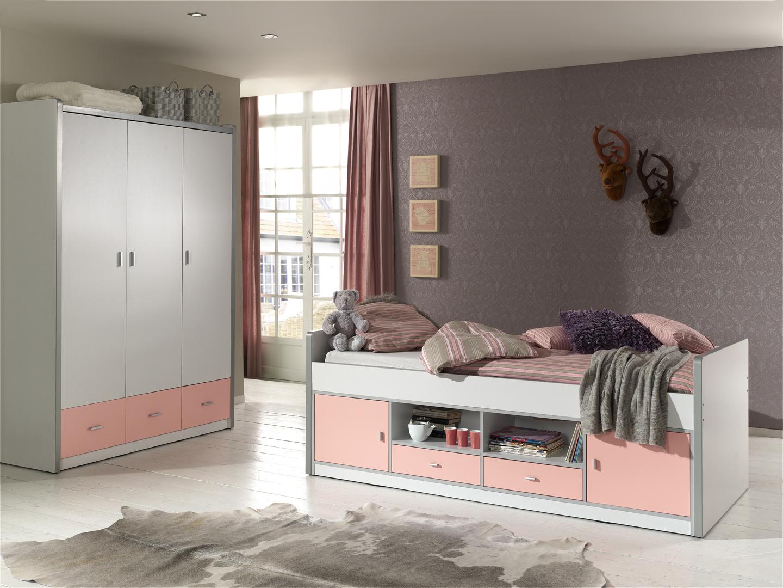 lit sur lev enfant avec rangement blanc rose sunny matelpro. Black Bedroom Furniture Sets. Home Design Ideas