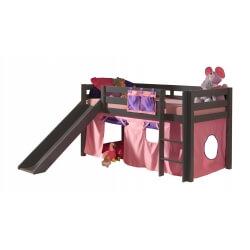 Lit mezzanine enfant avec toboggan en pin massif taupe laqué Anemone