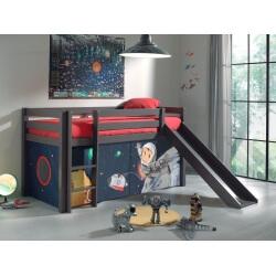 Lit mezzanine enfant avec toboggan en pin massif taupe laqué Asteroide