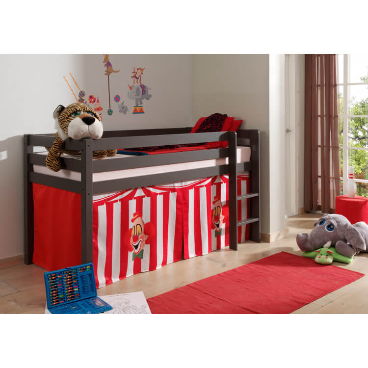 lit enfant sur lev pin massif taupe laqu circus matelpro. Black Bedroom Furniture Sets. Home Design Ideas