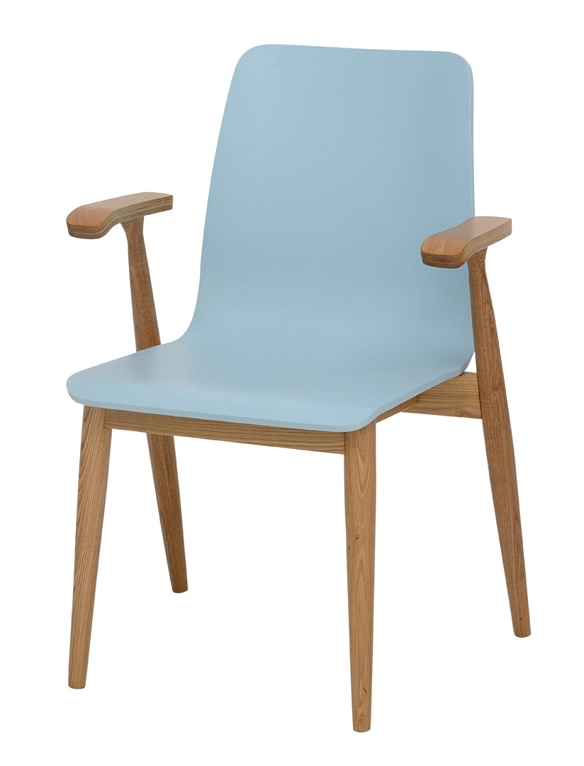 Chaise Retro En Bois Massif Chene Bleu Laque Alphie