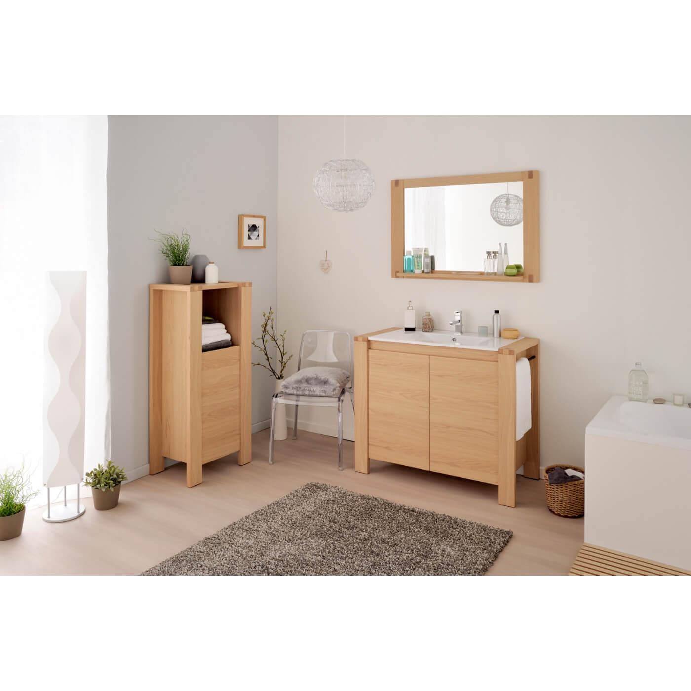 Meuble bas de salle de bain contemporain ch ne nature yelda matelpro - Meuble de salle de bain contemporain ...