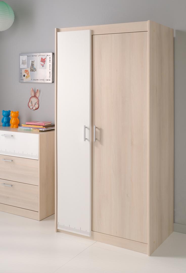 Armoire enfant contemporaine 2 portes acacia/blanc Comix