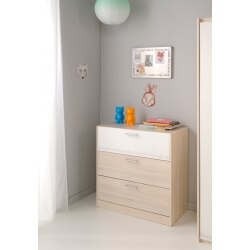 Commode enfant contemporaine 3 tiroirs acacia/blanc Comix