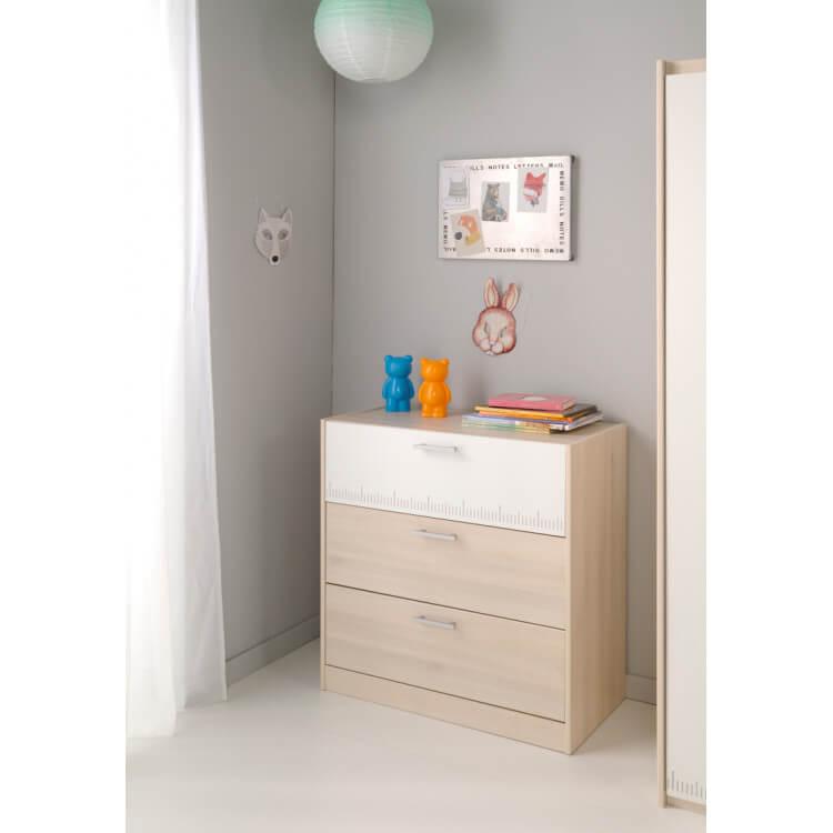 Commode enfant contemporaine 3 tiroirs acacia/blanc Comix