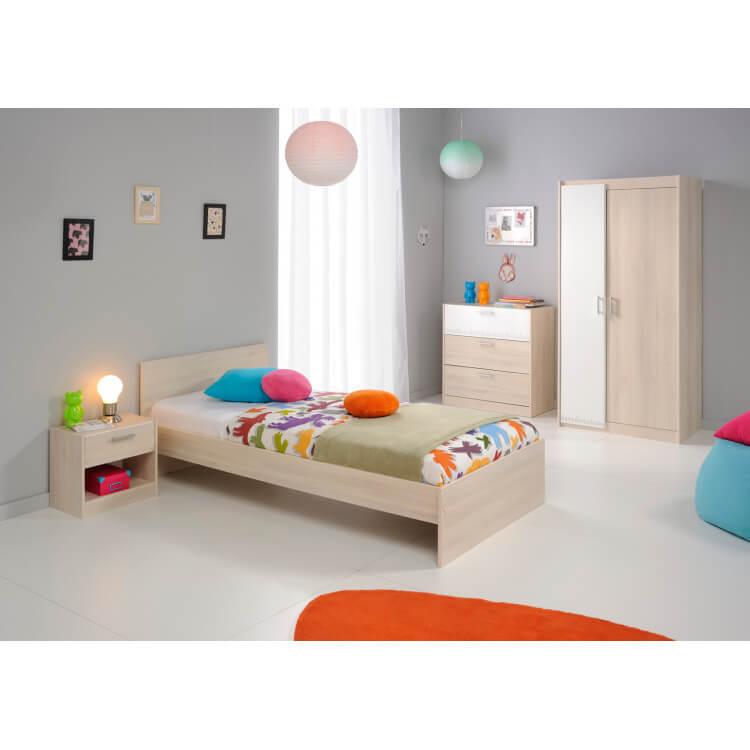 Chambre enfant contemporaine acacia/blanc Comix