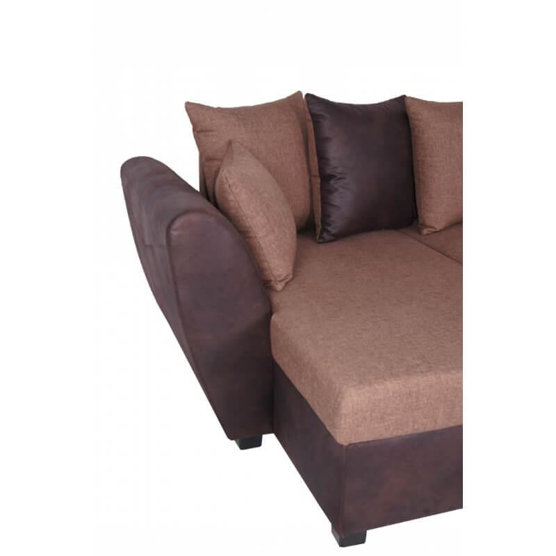 Canap d 39 angle fixe r versible contemporain en tissu brun - Canape d angle contemporain ...