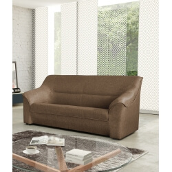 Canapé 3 places contemporain en tissu brun Guelma