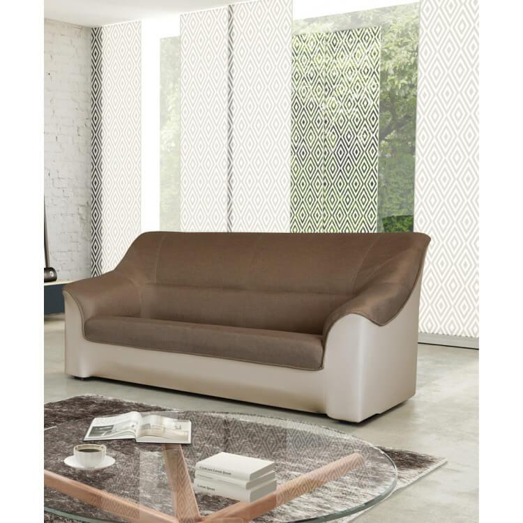 canap 3 places contemporain tissu brun pu beige guelma matelpro. Black Bedroom Furniture Sets. Home Design Ideas