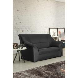 Canapé 2 places contemporain tissu noir/PU noir Guelma