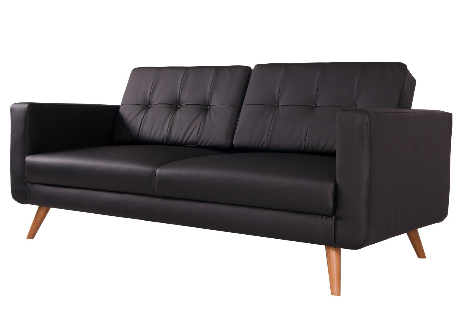 canap fixe 3 places contemporain en pu noir tebessa. Black Bedroom Furniture Sets. Home Design Ideas