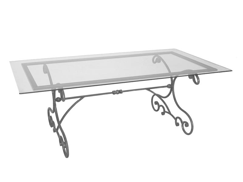 Table verre & fer forgé rectangulaire de salle à manger MELODIE