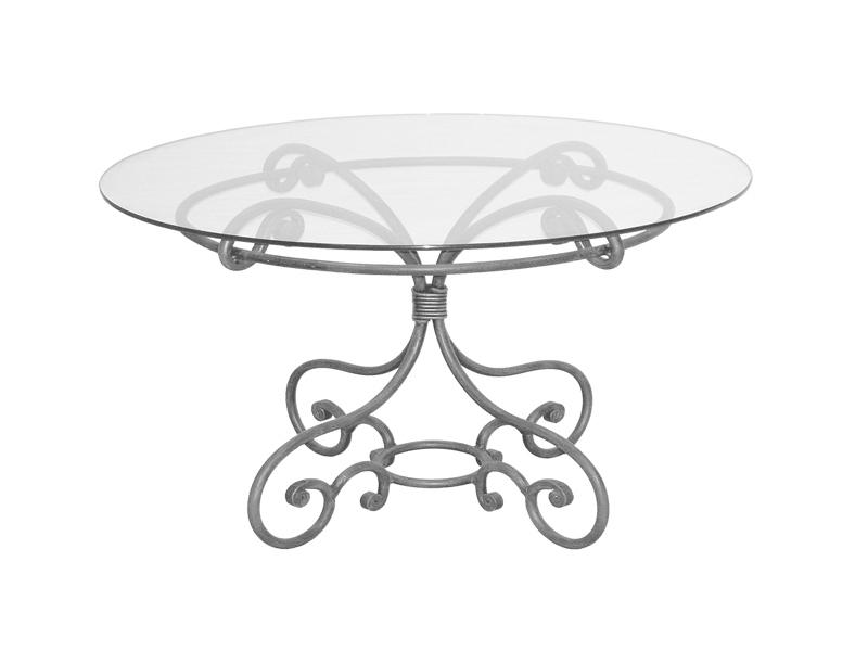 Table verre & fer forgé ronde de salle à manger MELODIE