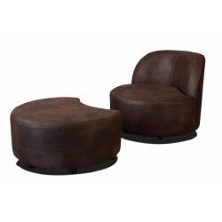 Fauteuil pivotant design rond en tissu marron avec pouf Manureva