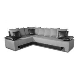 Canapé d'angle convertible réversible contemporain en tissu gris clair/PU noir Avorio