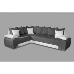 Canapé d'angle convertible réversible contemporain en tissu anthracite/PU blanc Avorio