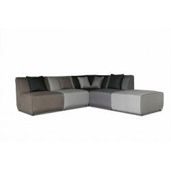 Canapé d'angle modulable contemporain en tissu multi-gris Oracio