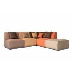 Canapé d'angle modulable contemporain en tissu multi-marron Oracio