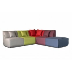 Canapé d'angle modulable contemporain en tissu multicolore Oracio