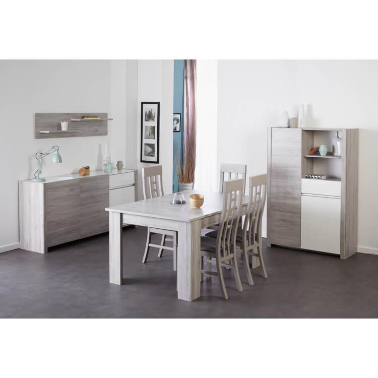 Salle à manger contemporaine gris portofino/blanc brillant Luciane