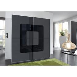Armoire design 2 portes coulissantes anthracite/verre noir Curtis