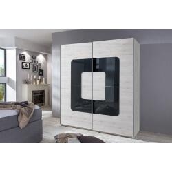 Armoire design 2 portes coulissantes chêne blanc/verre gris Curtis