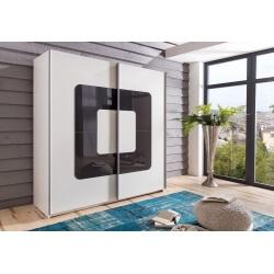 Armoire design 2 portes coulissantes coloris blanc/verre gris Curtis