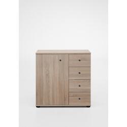 Commode contemporaine 1 porte/4 tiroirs coloris chêne Galet