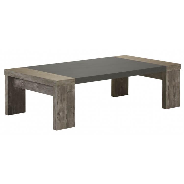 Table basse contemporaine rectangulaire chêne gris Campus
