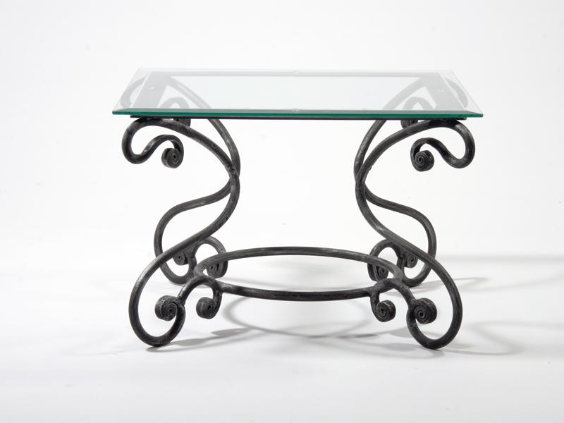 Table basse verre & fer forgé carrée MELODIE