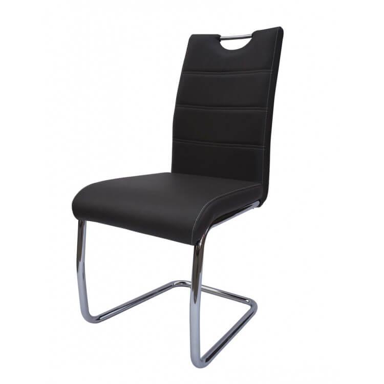 Chaise de salle à manger design métal et PU gris Raffie