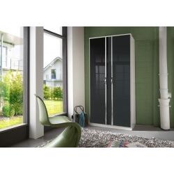 Armoire design 2 portes blanche/noir laqué Juliette