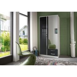 Armoire design 2 portes/2 tiroirs blanche/noir laqué Juliette